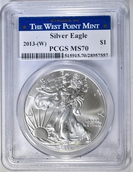 2013 (W) AMERICAN SILVER EAGLE PCGS MS-70