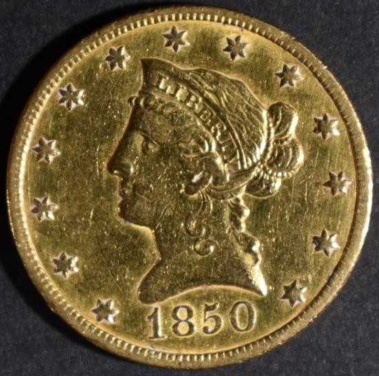 1850-O $10.00 GOLD LIBERTY  AU CLEANED