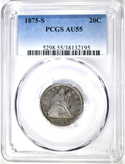 1875-S 20 CENT PIECE, PCGS AU-55