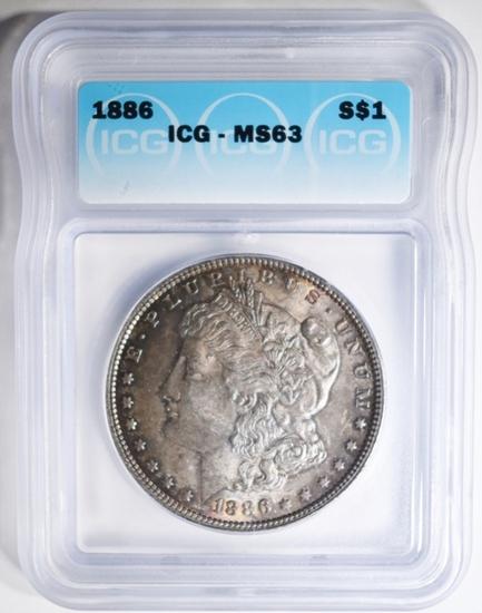 1886 MORGAN DOLLAR, ICG MS-63