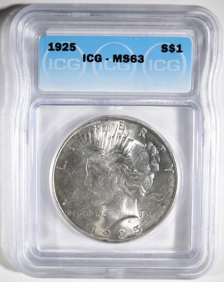1925 PEACE DOLLAR, ICG MS-63