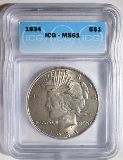 1934 PEACE DOLLAR, ICG MS-61