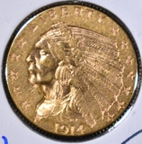 1914 $2.5 GOLD INDIAN  CH BU