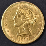 1890-CC $5 GOLD LIBERTY  BU LIGHT OLD CLEANING