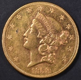 1858 $20 GOLD LIBERTY  BU SEMI PL