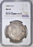 1890-O MORGAN DOLLAR, NGC MS-64