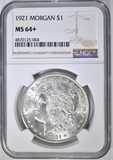 1921 MORGAN DOLLAR  NGC MS-64+