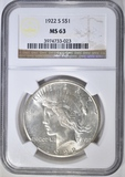 1922-S PEACE DOLLAR  NGC MS-63