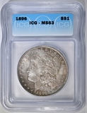 1896 MORGAN DOLLAR, ICG MS-63