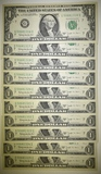 10 1963 $1 BARR NOTES CONSEC SERIAL NUMBERS  CU