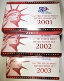 2001, 2002, 2003 U.S. MINT SILVER PROOF SETS