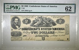 1862 $2 CONFEDERATE NOTE PMG 62 T-42