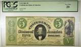 1861 $5 CONFEDERATE NOTE PCGS 20T-33