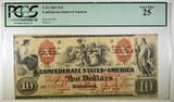 1861 $10 CONFEDERATE NOTE PCGS 25 T-22
