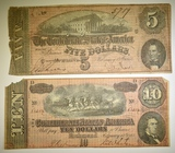 1864 $5 & $10 CONFEDERATE NOTES, LOW GRADE