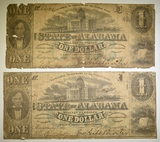 2-1863 $1 STATE OF ALABAMA NOTES LOW GRADE