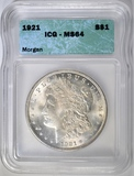 1921 MORGAN DOLLAR ICG MS64