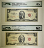 PMG GRADED $2 RED SEAL STAR NOTE LOT:
