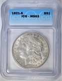 1921-S MORGAN DOLLAR ICG MS-63