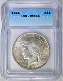 1924 PEACE DOLLAR ICG MS-64