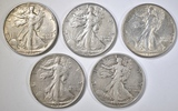 5 WALKING LIBERTY HALVES XF BETTER DATES
