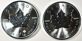 2017 & 2020 BU CANADA 1-oz SILVER MAPLE LEAF COINS