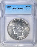 1926 PEACE DOLLAR ICG MS-63