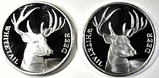 2-WHITETAIL DEER 1oz SILVER ROUNDS