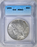1934 PEACE DOLLAR ICG MS-62