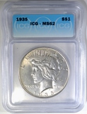 1935 PEACE DOLLAR, ICG MS-62