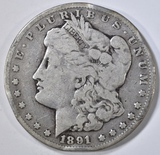 1891-CC MORGAN DOLLAR  VG  RIM BUMP
