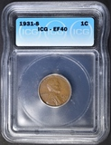 1931-S LINCOLN CENT ICG EF-40