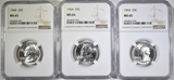 3-1964 WASHINGTON QUARTERS, NGC MS-65