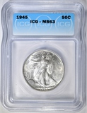 1945 WALKING LIBERTY HALF ICG MS-63