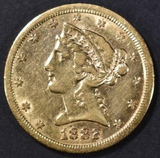 1882-CC $5 GOLD LIBERTY AU SCARCE CARSON CITY GOLD