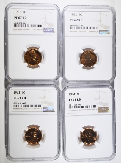 1961-64 LINCOLN CENTS NGC PF-67 RD