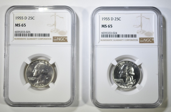 2-1955-D WASHINGTON QUARTERS NGC MS-65