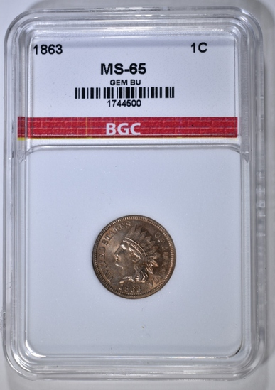 1863 INDIAN CENT BGC GEM BU