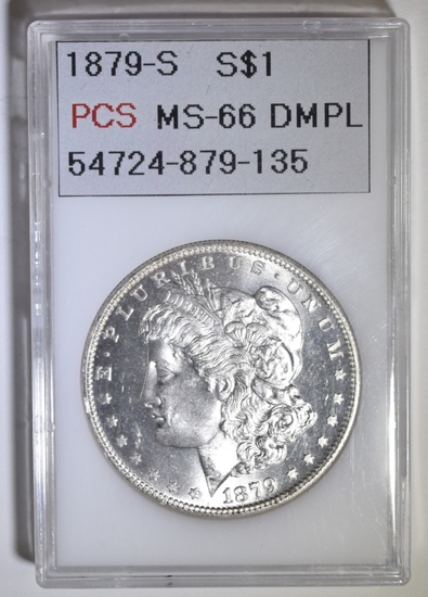 1879-S MORGAN DOLLAR PCS SUPERB GEM BU DMPL