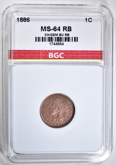 1886 INDIAN CENT BGC CH/GEM BU RB