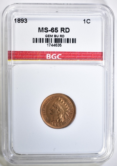1893 INDIAN CENT BGC GEM BU RED