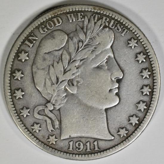 1911 BARBER HALF DOLLAR VF/XF