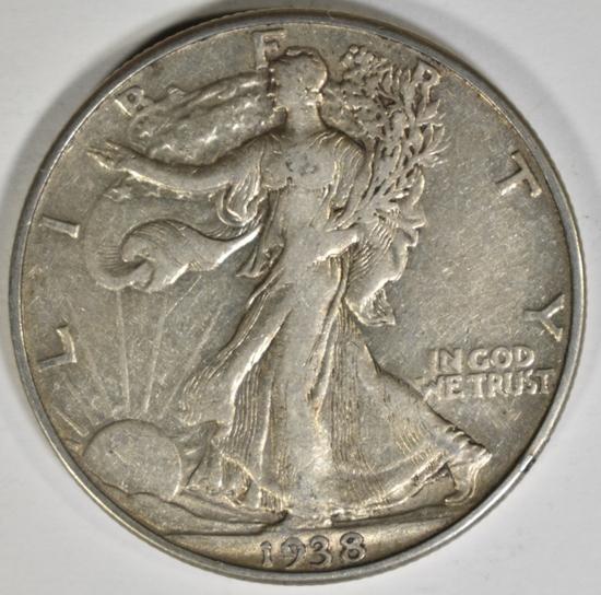 1938-D WALKING LIBERTY HALF DOLLAR XF