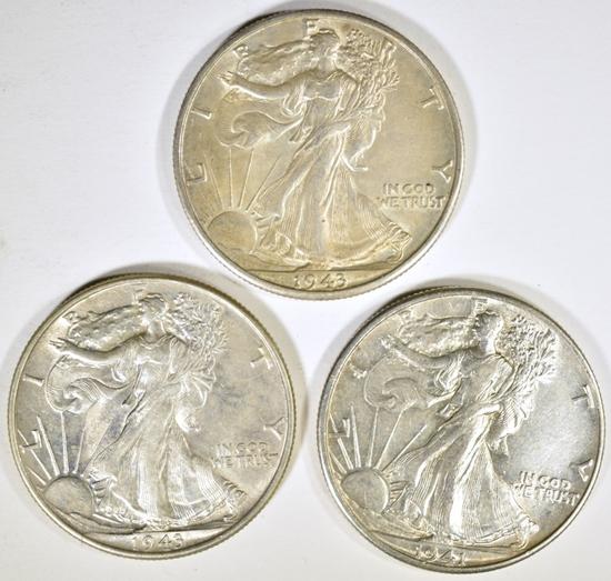 1941 & 43 P&D AU WALKING LIBERTY HALF DOLLARS
