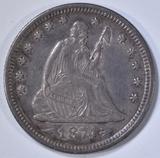 1874 ARROWS SEATED LIBERTY QUARTER CH AU