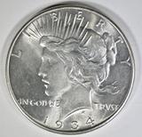 1934 PEACE DOLLAR  BU  RIM BUMPS REV