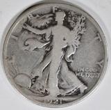 1921-D WALKING LIBERTY HALF DOLLAR GOOD