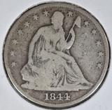 1844 SEATED LIBERTY HALF DOLLAR  VG