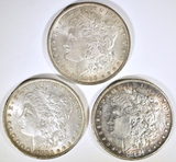 1881-O, 83-O & 88  MORGAN DOLLARS AU+