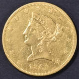 1861 $10 GOLD LIBERTY  NICE AU